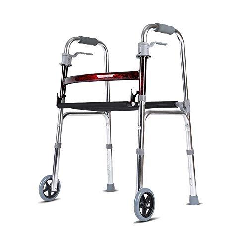 Walker, Andador Flotante Andador Aluminio con Asiento Y 2 Rodillos Andador Portátil para Personas Mayores Obesidad Ajuste Marco para Caminar para Adultos Ligero