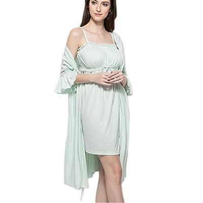 Women's Cotton Nightgown 2 pcs Set Lounge Robe PJS Sleepwear Victorian Vintage Nightdress