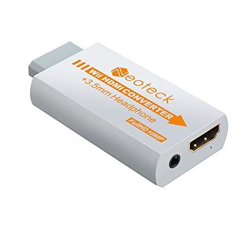 Neoteck 1080P Convertitore Wii a HDMI Mini Convertitore HD HDTV + 3.5mm Jack Supporta Formato NTSC/Pal per Smart TV HDTV - Senza Cavo-Bianco
