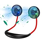 Portable Hanging Neck Fan,GIM 2000mah 3.5-9.5 Hours USB Rechargeable Personal Fan with 3 Level Air Flow 7 LED lights for Home, Office, Travel,Indoor, Outdoor