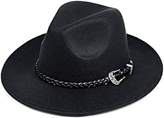 with Wide Brim Sombreros Jazz Hat for Gentleman Church Top Hat Fashion Wool Women's Men's Winter Autumn Fedora Hat (Color : Black)