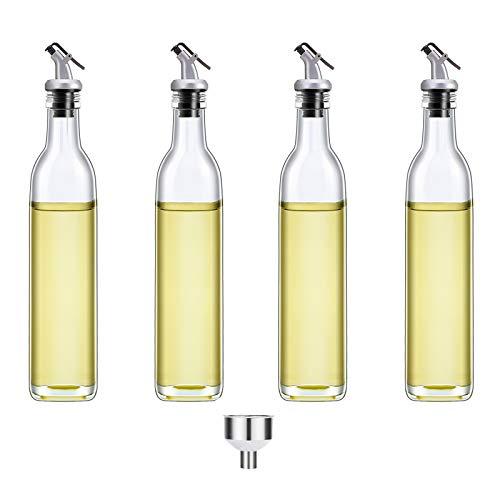 Berdeng Olive Oil Dispenser-4 Pack Oil and Vinegar Dispenser Set(17 OZ) Oil and Vinegar Bottle Set with 1 Stainless Steel Funnel Olive Oil Bottle and Vinegar Bottle Glass Set