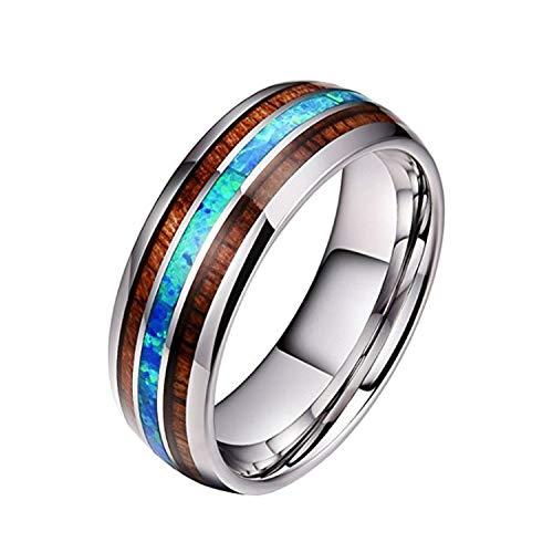 smile-coco Anillos de acero de titanio con incrustaciones de madera para hombres, 8 mm, anillo de carburo de concha de abulón, accesorio de joyería masculina, 8, P1