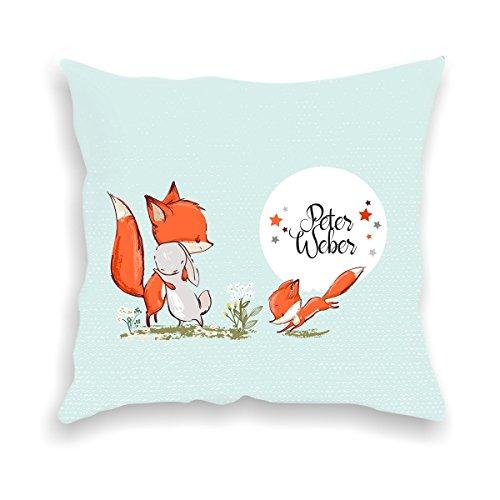 wolga-kreativ Kissen-bezug Deko-Kissen Fuchs und Hase 40x40 cm incl. Füllung Namenskissen Geschenk-e Baby-Kissen Kinder-Kissen Kinderzimmer Babyzimmer Mädchen Junge-n mit Namen (flauschig)