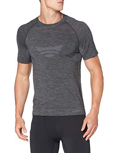 CMP Camiseta Interior de Lana Merino sin Costuras para Hombre, Hombre, Camiseta, 39Y4057, Negro Mel, L-XL