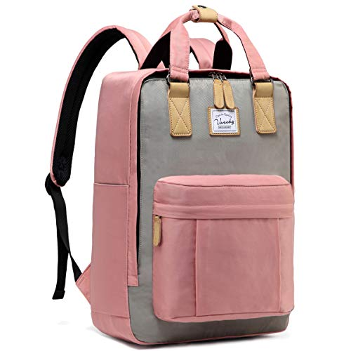 VASCHY Laptop Backpack for Women Fits 15.6' Laptop Vintage Wide Open School Rucksack Water Resistant Anti-Theft Work Bag (Pink & Grey)
