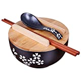 Tazón De Ramen Japonés Vintage con Tapa De Cuchara Tazón De Ramen De Cerámica Negra Tazón De Arroz Dibujado a Mano Tazón De Fideos Instantáneos 6.5 Pulgadas