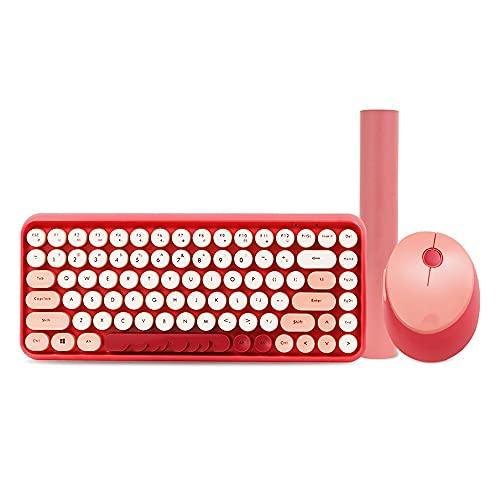 Combo De Ratón Y Teclado Inalámbricos Teclado Numérico Completo Botones De Atajos Receptor Nano USB 90% Menos De Ruido Disposición QWERTY Español (Color : Pink)