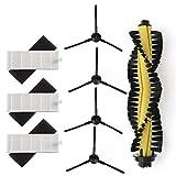Accesorios de repuesto para aspiradoras 1 * cepillo principal + 3 * Filtro HEPA + 3 * Sponge + 4 * cepillos laterales for el aspirador Robot de piezas Polaris Chuwi Ilife A4 T4 X432 X430 X431 filtro C