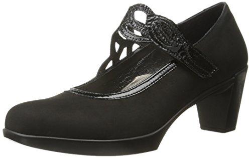 NAOT Women's Luma Maryjane Heel Black Crinkle Pat/Black Velvet Nubuck 7.5 M US