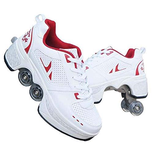 HealHeatersⓇ Schuhe Mit Rollen Zweireihiges Rad Rollschuhe Schuhe Erwachsene Skateboard Schuhe Mädchen Jungen Verstellbare Quad-Rollschuh-Stiefel Outdoor Sportschuhe,35