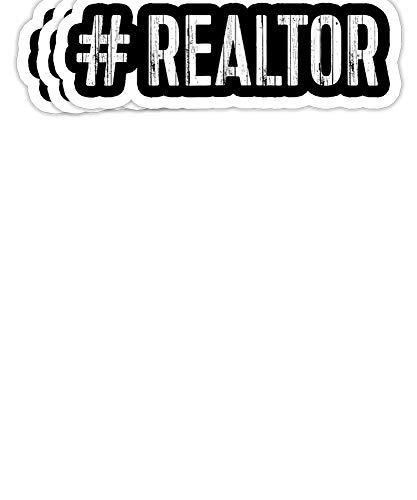 Peach Poem Hashtag Realtor Real Estate Agent Gift Decorations - 4x3 Vinyl Stickers, Laptop Decal, Water Bottle Sticker (Set of 3)