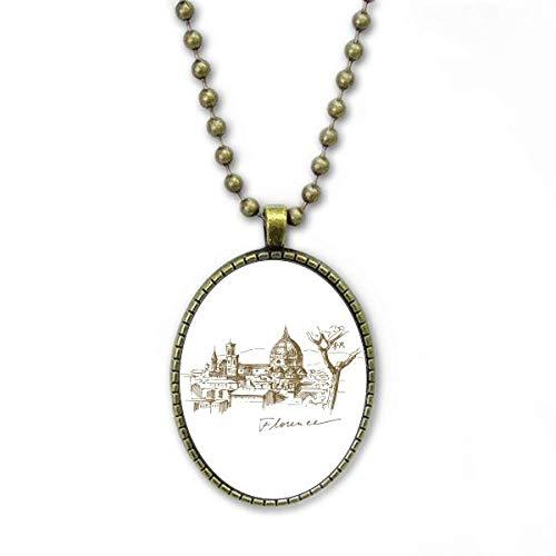 Florenz Kathedrale Italien Muster Halskette Vintage Chain Bead Anhänger Schmuckkollektion