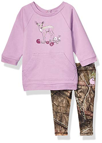 Carhartt Baby Girls 2-Piece Tunic and Legging Clothing Set, Pink Deer Top, Mossy Oak Bottoms, 12M