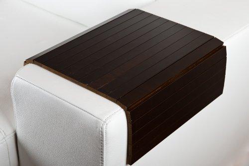 moebelhome Sofatablett, Armlehnen Ablage Tablett BRAUN, Armlehnenschoner Massiv-Holz, NEU