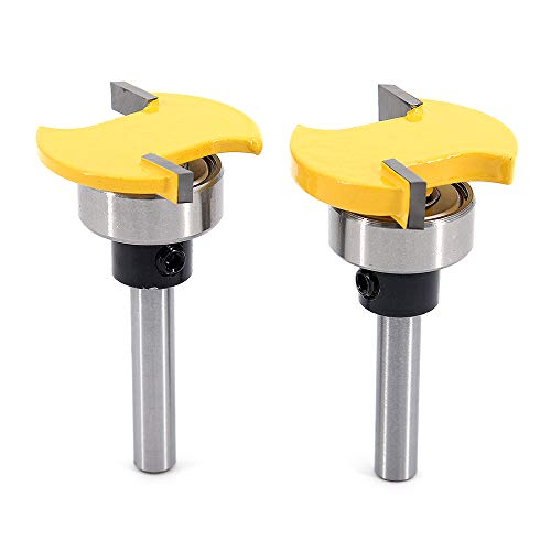 DingGreat 2Pcs 6mm Shank Top Bearing Slot Cutter Router Bit, T-Track Slotting Wood Milling Cutter Woodworking Tool