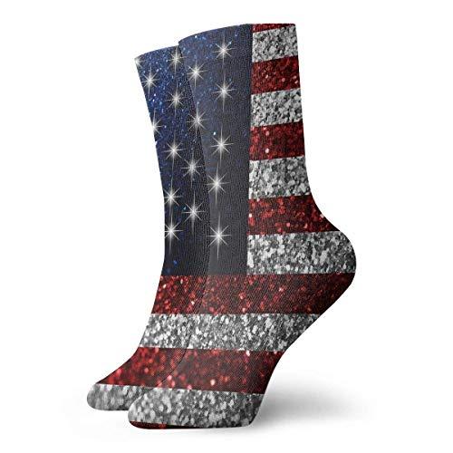 akingstore Bandera americana en purpurina novedad calcetines calcetines deportivos medias 30 cm