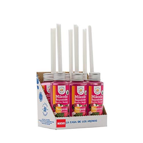 La Casa de los Aromas, Set de 6 x 100ml Ambientadores Mikado Tropical para Reposición con Varillas, Difusor Líquido de Aroma Tropical, Perfume Duradero para el Hogar, Baño, Casa