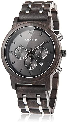 NZDY Relojes de madera para hombre Cronógrafo y correa de metal y madera; Reloj de cuarzo con indicador de fecha Relojes masculinos versátiles,B