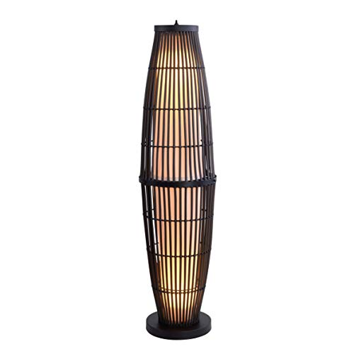 Kenroy Home 32248RAT Biscayne Floor Lamps, Small, Rattan with Black Accents