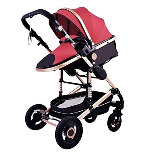 HZPXSB 3 en 1 Cochecito Cochecito de bebé Multifuncional Alta Paisaje portátil Marco de Aluminio CE/CPC Carruaje de bebé para bebé (Color : Red)