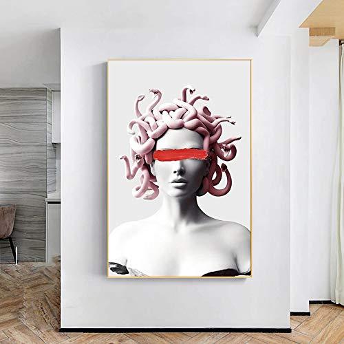 wZUN Escultura de Onda de Vapor Lienzo Cartel Graffiti Arte Pared Lienzo Pintura Sala de Estar decoración Pintura 60X90 Sin Marco