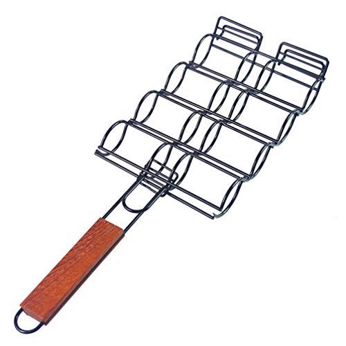 BESPORTBLE Mais Grillhalter Edelstahl Grillkorb Antihaft Mais Korb Langen Holzgriff für zu Hause Küche im Freien Grillparty Zubehör