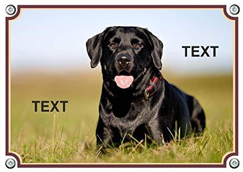 Hundeschild mit eigenem Foto u. eigenem Text - Metall -uv-beständig - personalisierbar - ab DIN A5