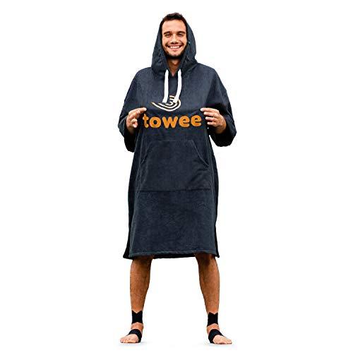Towee Poncho Surf Handtuch, mikrofaser Poncho mit Kapuze, schnelltrocknender Poncho, surf Poncho, surferhandtuch für Damen und Herren (Anthrazit - Orange, 80 x 115 cm)