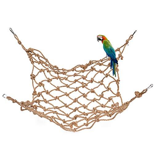 Loro Cuerda Hamaca Columpio Juguete Mascota Pájaro Cáñamo Cuerda Escalada Red Columpio Jugar Cuerda Escalera Masticar Jaula Colgante Juguetes para todo tipo de loros y pájaros o hámsters 20 * 30cm