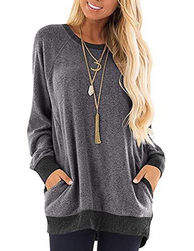 SEBOWEL Camicia Donna Elegante Maniche Lunghe Blocchi di Colore Felpa Oversized Patchwork Maglietta T Shirt Casual Sweatshirt Tunica (XL, Grigio)