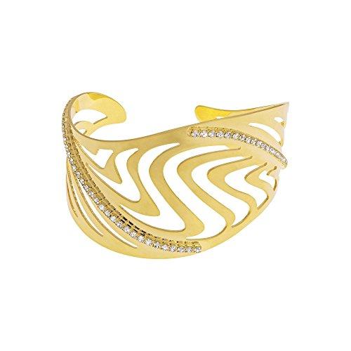 Stroili - Bracciale Bangle Medium In Metallo Dorato Lucido E Cristalli Per Donna - Kalahari