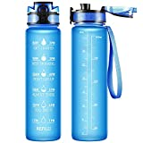 32oz Large Sports Water Bottle with Motivational Time Marker & Removable Strainer,Fast Flow BPA Free Non-Toxic for Fitness, Gym and Outdoor Sports (Blue)