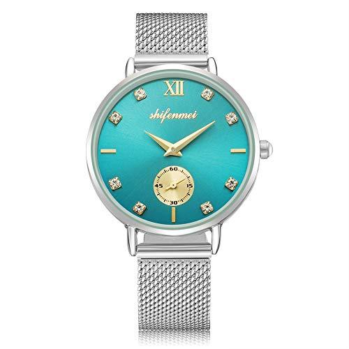 Ultradünne Damenuhr, shifenmei S1081 Wasserdicht Damen Analog Quarz Uhr Diamant Damen Armbanduhr mit Mesh-Armband Ø32mm (Silber)