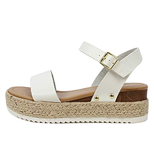 Womens JDTopic2 Casual Espadrilles Trim Rubber Sole Flatform Studded Wedge Buckle Ankle Strap Open Toe Sandals Whiteclp 10 M US