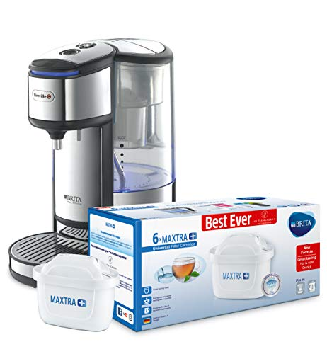 Breville BRITA HotCup Hot Water Dispenser with Integrated Water Filte 1.8 Litre, Stainless Steel [VKJ367] with Brita MAXTRA 6 pack water filters