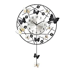 MYH-US modern Simple Round butterfly wall clock Quartz clock decoration Wall clock bedroom Mute Pocket watch Crafts With pendulum