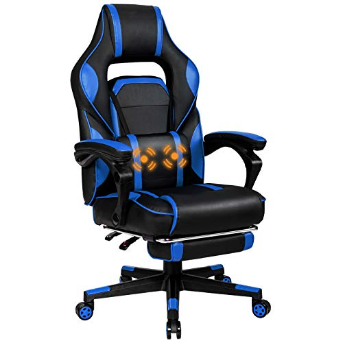 Giantex Ergonomic Gaming Chair, Executive Computer Office Chair with USB Massage Lumbar Cushion and Retractable Footrest, High Back Swivel Chair with Backrest and Height Adjustable (Blue)