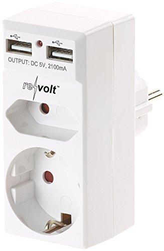 reVolt Steckdosenadapter 2 Fach: 2-Fach-Steckdose und 2-Fach-USB-Netzteil, 2,1 Ampere (Doppelsteckdose zum Einstecken)