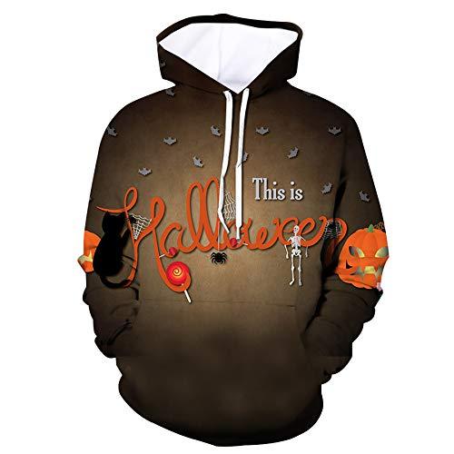 WBYFDC Unisex Halloween Hoodie Kürbis Print Herren Damen Kapuzen Kordelzug 3D Rundhals Bequemes Sport Sweatshirt Weihnachtskostüme