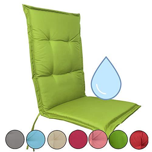 JEMIDI Stuhlauflage wasserabweisend für Hochlehner Gartenstühle Gartenstuhlkissen 120cm x 50cm x 5cm (Grün)
