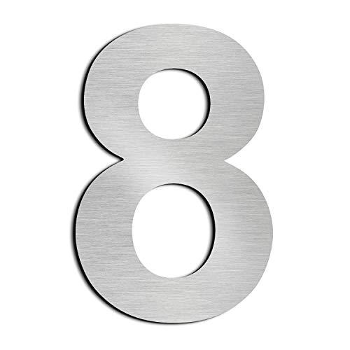 nanly Moderne Hausnummer aus massivem hergestellt 304-GROß 30.5 Zentimeter /12Zoll- Gebürsteter Edelstahl, Schwimmendes Aussehen, Einfache Installation(Ziffer 8)
