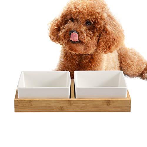 Keramik Doppelnapf Hundenapf Futterstation Set,2 Stück Hundenapf Katzennapf,mit Bambus Ständer Rutschfest,Haustier Futternapf Wassernapf,Ideal Fressnapf für Mittlere Kleine Hunde oder Große Katzen