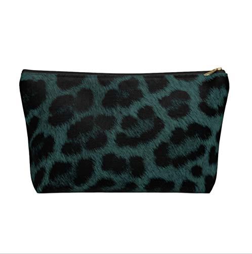 Trousse zippée à motif léopard bleu sarcelle/imprimé animal pour cosmétiques/crayons/maquillage Vert foncé/noir/pois Caramel
