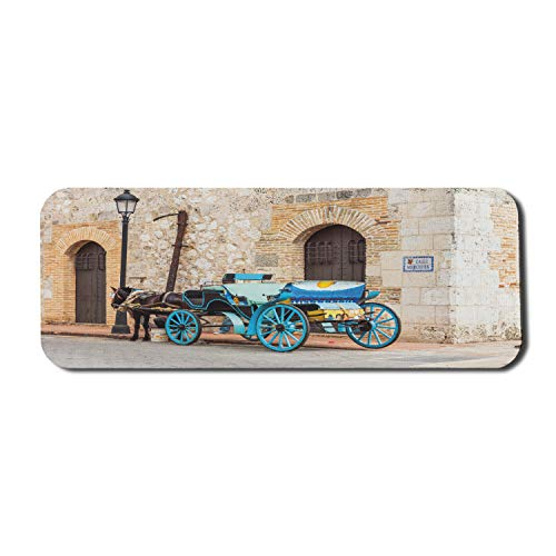 Ambesonne Colorful Mouse Pad for Computers, Retro Style Horse-Drawn Carriage in Old Street at Santo Domingo Dominican Republic, Rectangle Non-Slip Rubber Gaming Mousepad Large, 31' x 12', Multicolor