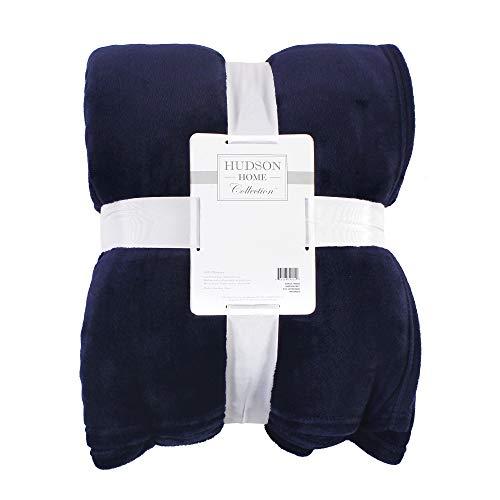 Hudson Baby Home Silky Plush Blanket, Navy Fleece, 60X80 in. (Oversize Throw) (59253)