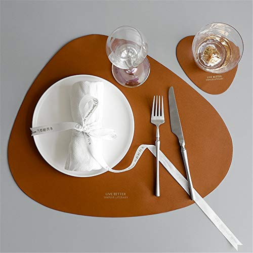ZCHPDD - Juego de manteles Individuales de Piel de Estilo nórdico, diseño Triangular, Ovalado, Resistentes al Agua y al Aceite, para el hogar, a, 45 * 37CM*6pcs