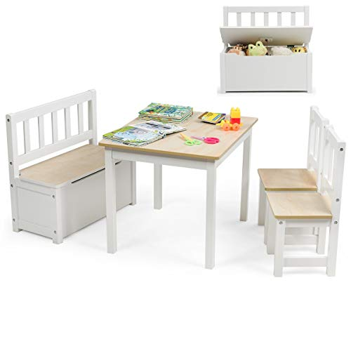 Costzon Kids Table and Chair Set  Wood Activity Table with Toy Storage Bench & 2 Chairs for Children Reading  Arts  Crafts  Snack Time  Homework  Playroom  Toddler Table and Chair Set (Natural)