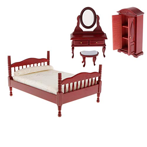 sharprepublic 3Pcs 1:12 Casa de Muñecas Miniaturas Dormitorio de Madera Cama Doble Armario de Tocador