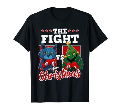 Divertente gatto amante divertente Boxer gatto vs albero di Natale Maglietta